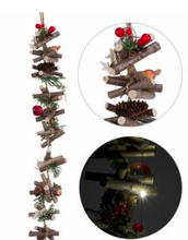 Load image into Gallery viewer, lit log garland w pine branch