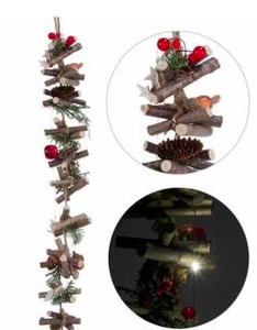lit log garland w pine branch
