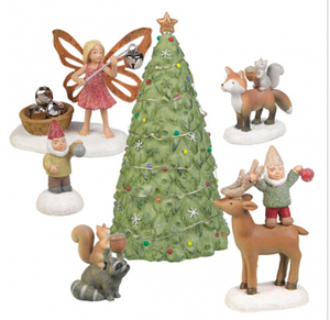 Light up Christmas tree w gnomes and fairy figures set of 6