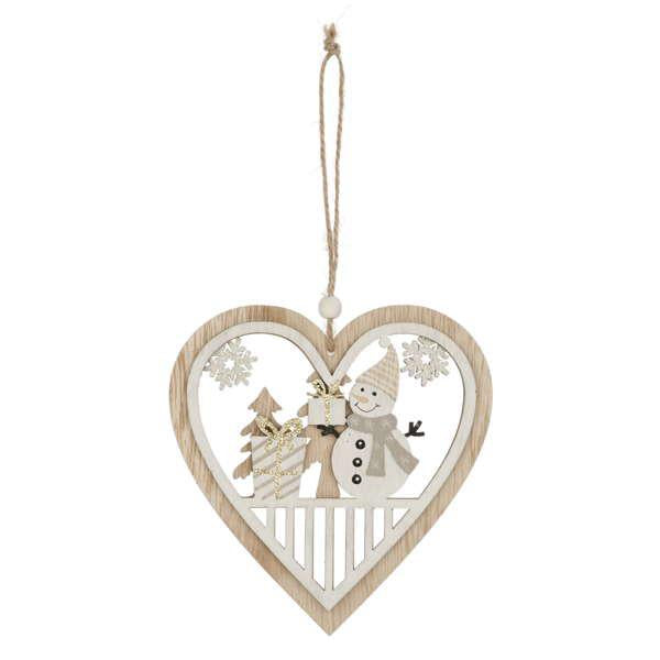 Snowman in wood heart ornament