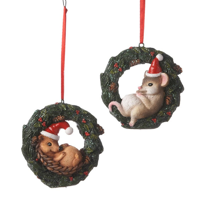 Hedgehog or Mouse in Wreath Ornament
