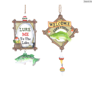 WELCOME or LURE ME FISHING ORNAMENTS
