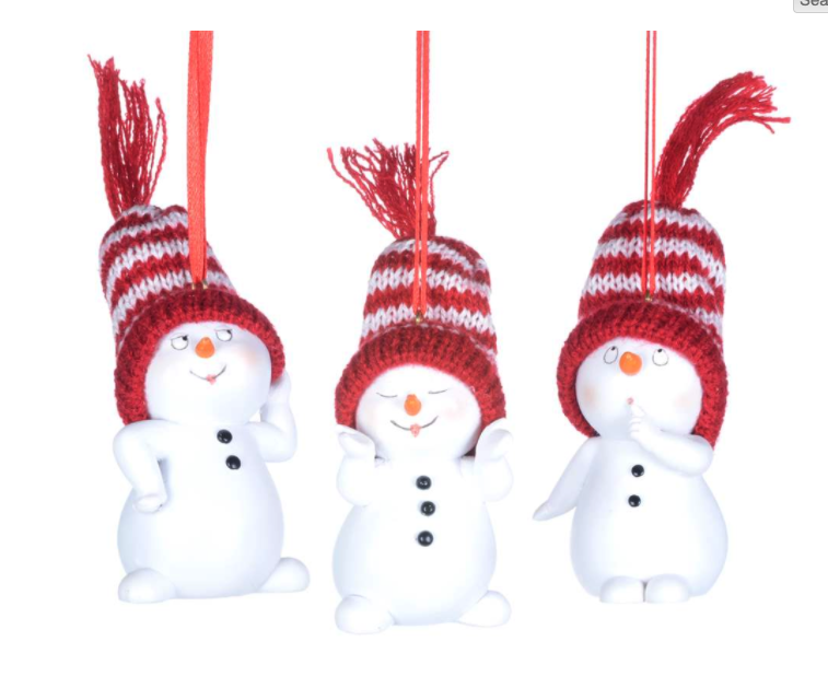 Cute Snowman Ornaments w Red Striped Hats
