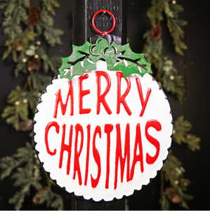 Merry Christmas Round Vintage Sign