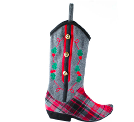 Plaid  Fleece cowboy boot stocking w holly