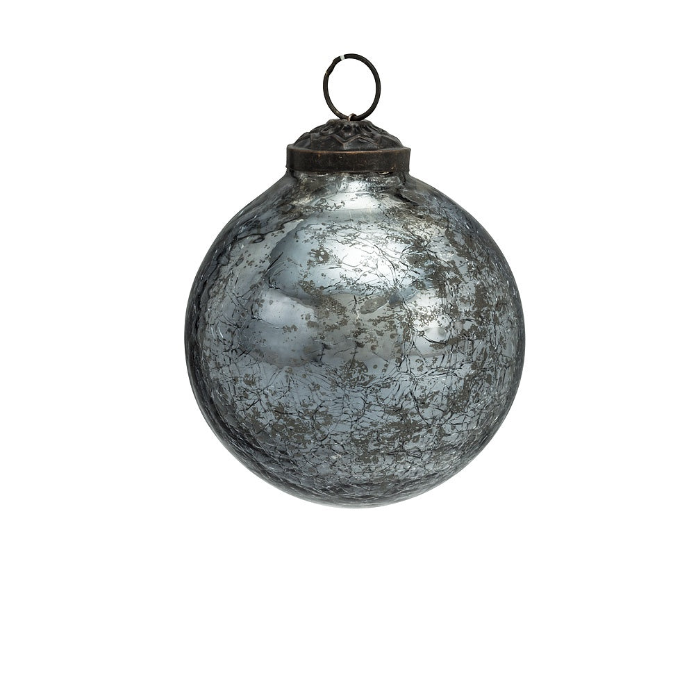 Silver Crackle Glass Ball Ornament