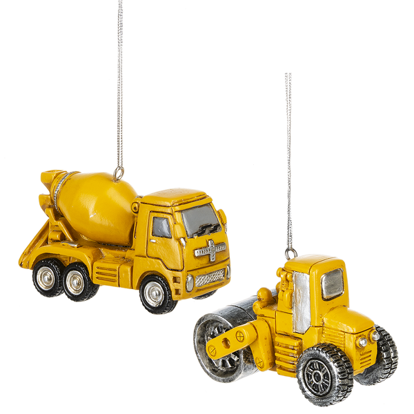 Cement mixer and Road roller ornaments 2 assorted