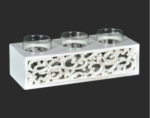 WHITE TRIPLE CANDLE HOLDER