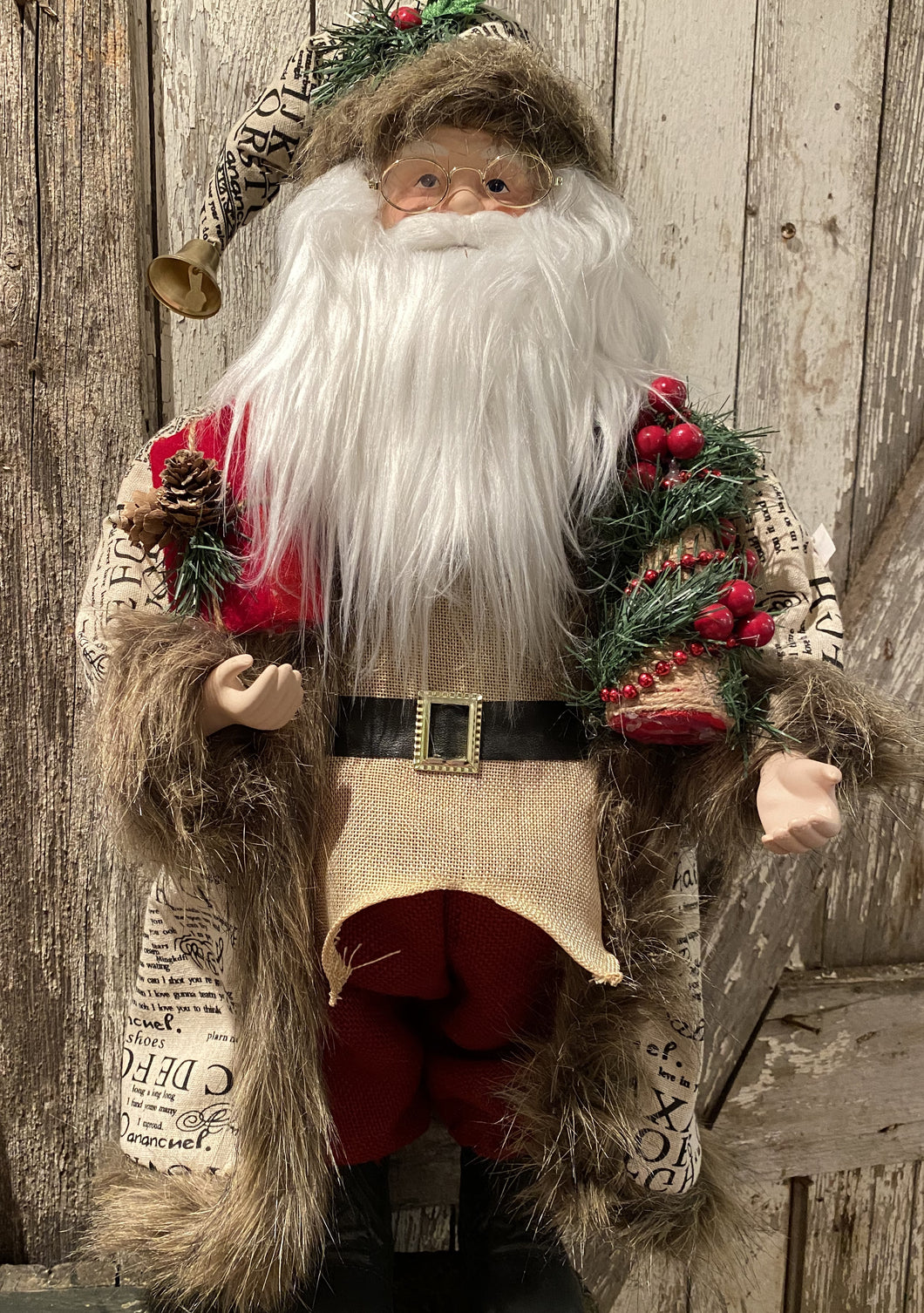 red scripted burlap standing 22 inch santa w walking present and tree