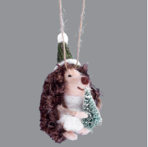 Hedgehog w Tree Ornament