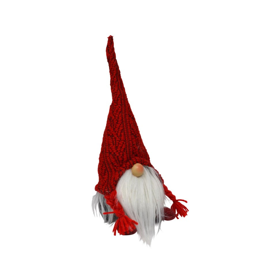 Sitting Gnome with Red Knit Hat