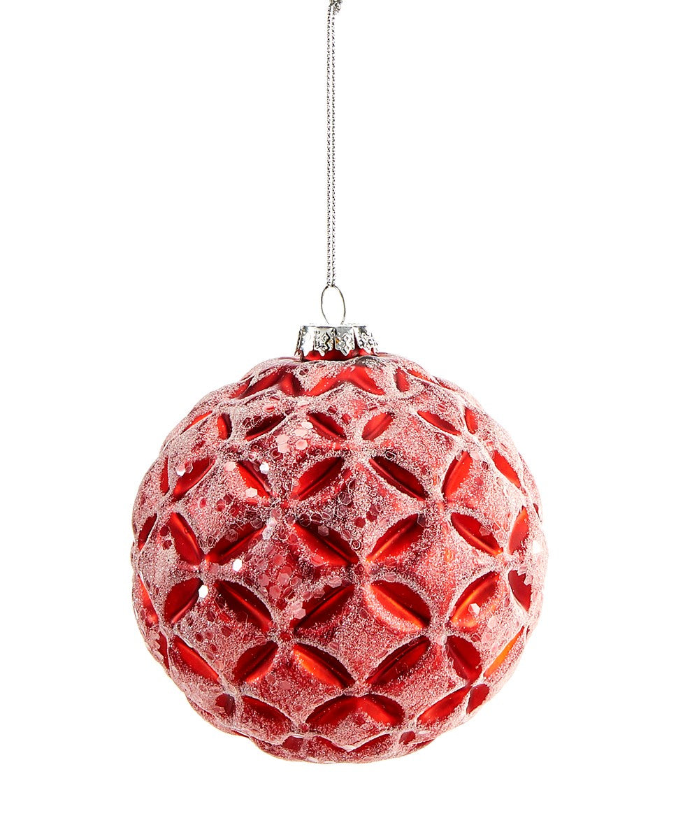 Frosted Red Glass Ball Ornament