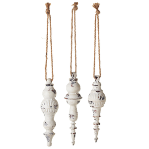 White Distressed Finial Ornament