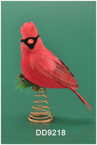 Red Feather Cardinal Treetopper with Holly ( 11 in)