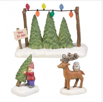 Trees for Sale: set of 3 figurines (gnome, trees, deer)