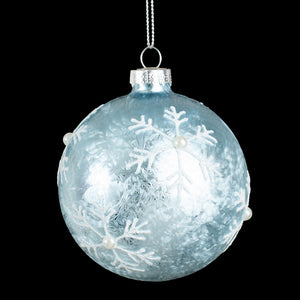 Green Frosty Glass Ball Ornament w Snowflake Design