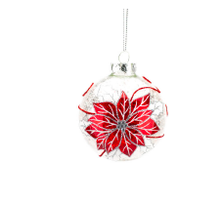 Load image into Gallery viewer, Red Poinsettia on Clear Glass Ball Ornament