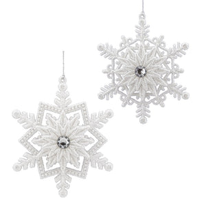 Snowflake Ornament w Jewel Center - 2 styles