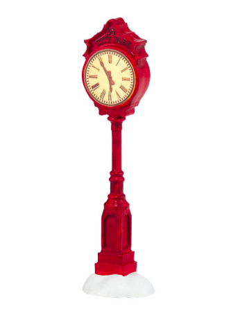 Red village clock lit