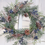 Blue Cone Holiday Wreath 24 inches