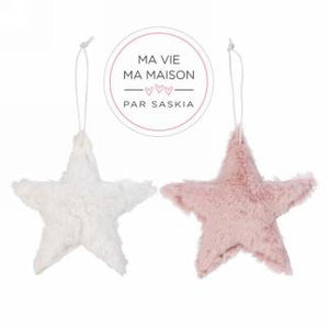 Faux fur pink and white star ornaments 2 asst