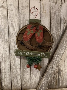 Merry Christmas Y'all Cowboy Boot Sign