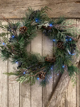 Load image into Gallery viewer, Blue Cone Holiday Wreath 24 inches