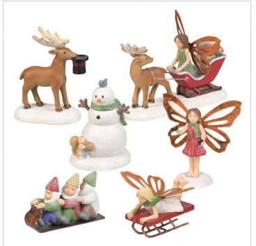 Winter figures set of 6 fairy gnome snowman