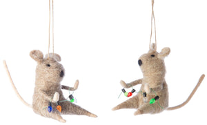 Mice w Lights Strings Ornaments
