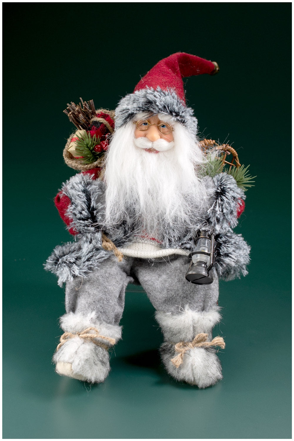 Red Grey Sitting Santa Claus with Snowshoes