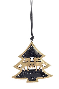 Gold and black metal reindeer tree