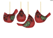 Load image into Gallery viewer, Cardinal Ornament w Holly Wings