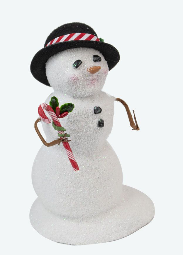 snowman w black hat candy canes