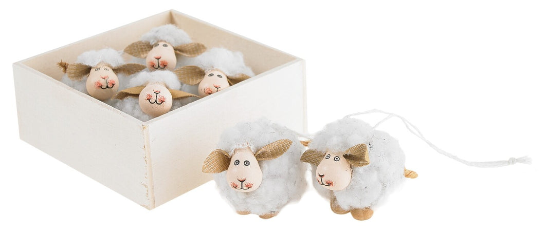 White Wooly Sheep Ornaments in box-Set of 6