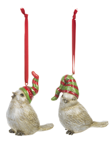 Bird Ornaments w/Red & Green Caps