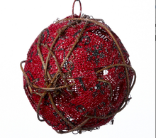 Load image into Gallery viewer, Red Scripted Burlap Ball ornament