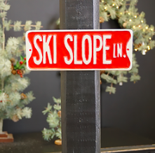 Metal Ski Slope sign 9 inch x4 inch