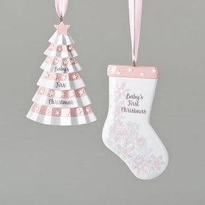 pink stocking or tree ornament babies first
