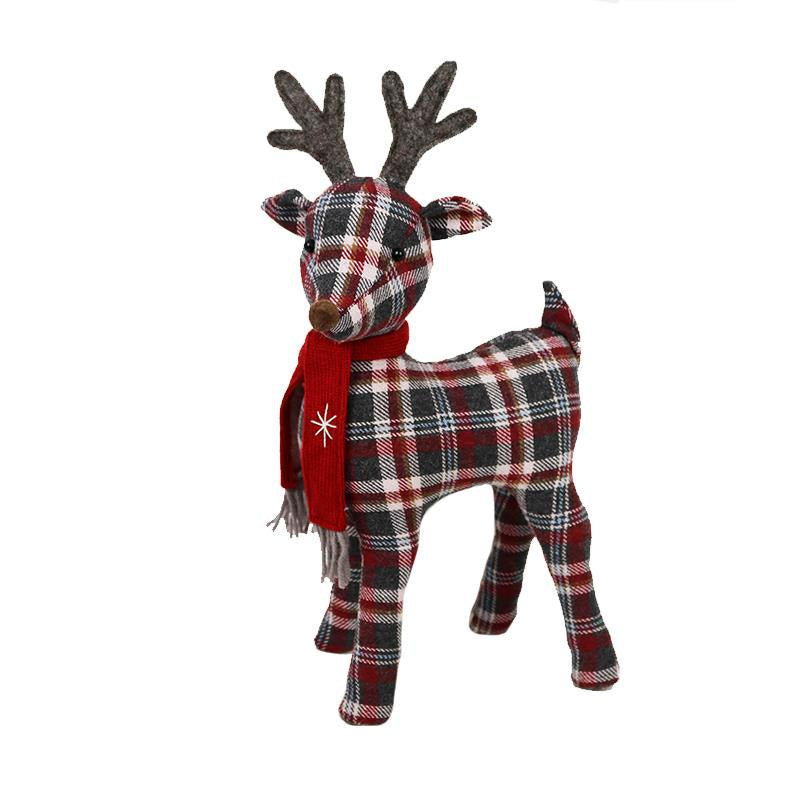 Standing Plaid Fabric Reindeer - 2 sizes
