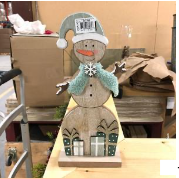 Green wood snowman standing small
