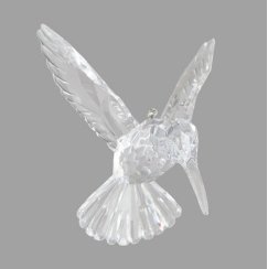 Clear Crystal Look Hummingbird Ornament