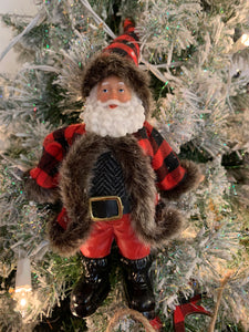 Buffalo Plaid Santa Ornament