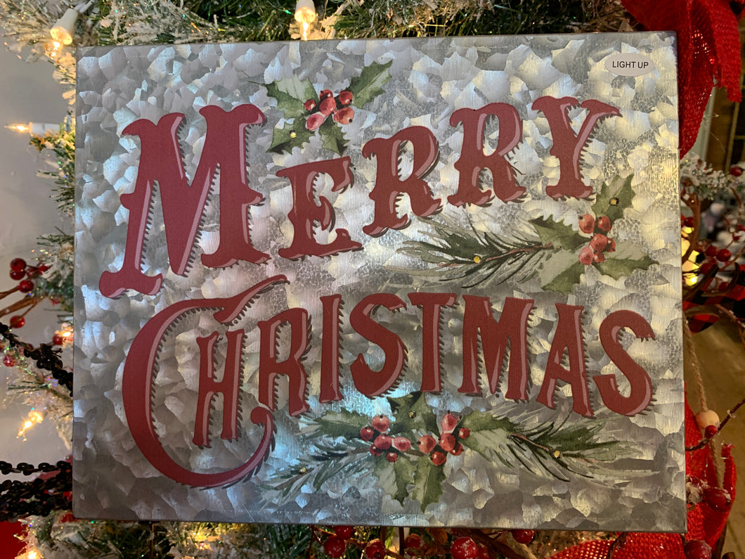 Merry Christmas Galvanized Lit metal sign