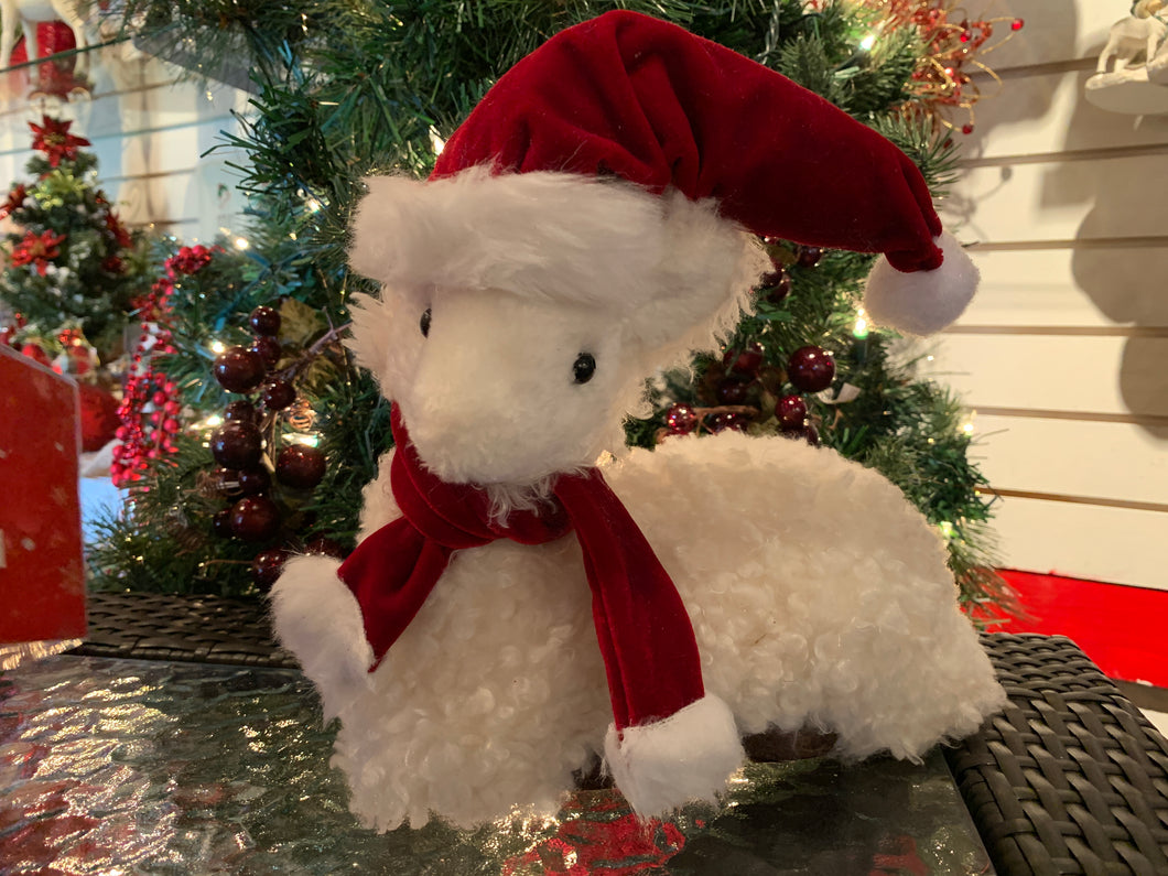 Fluffy Sheep w Red Hat and Scarf