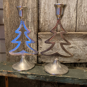 Silver Tree Candle Holder - Set of 2