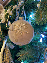 Load image into Gallery viewer, Champagne Ball Ornament w Poinsettia Design