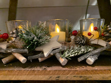 Load image into Gallery viewer, Triple Votive Twig Centerpiece  (12 in x 5 in)
