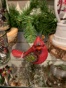 Cardinal Ornament w Holly Wings