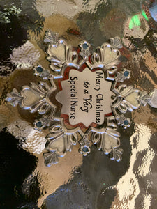 Silver Snowflake Ornaments - asst