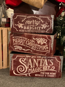Red Vintage Christmas Crates - 3 styles